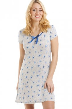 Grey Short Length Blue Floral Print Nightdress