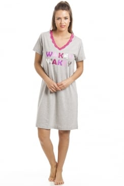 Grey Short Sleeve Wakey Wakey Motif Cotton Nightdress