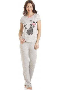 Grey Short Sleeve Zebra Motif Full Length Pyjama