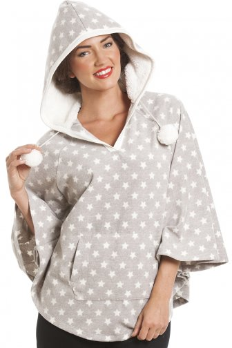 Grey Star Print Hooded Fleece Poncho