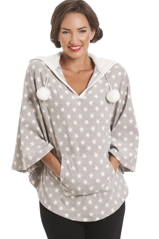 Grey Star Print Hooded Fleece Poncho