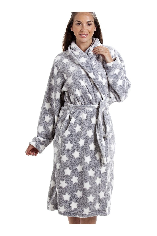 Grey Supersoft Velour Fleece White Star Print Shawl Collar Bathrobe