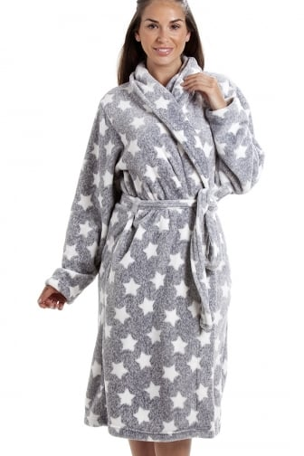 1a656fb7d3 Grey Supersoft Velour Fleece White Star Print Shawl Collar Bathrobe
