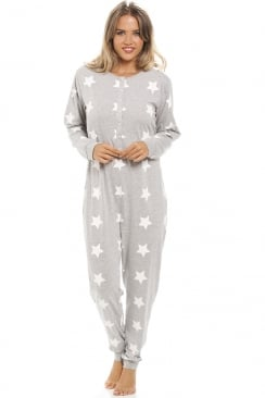 Grey White Star Print All In One