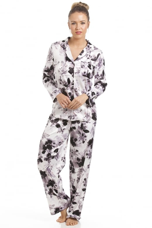 Grey With Black Floral Print Satin Pyjama