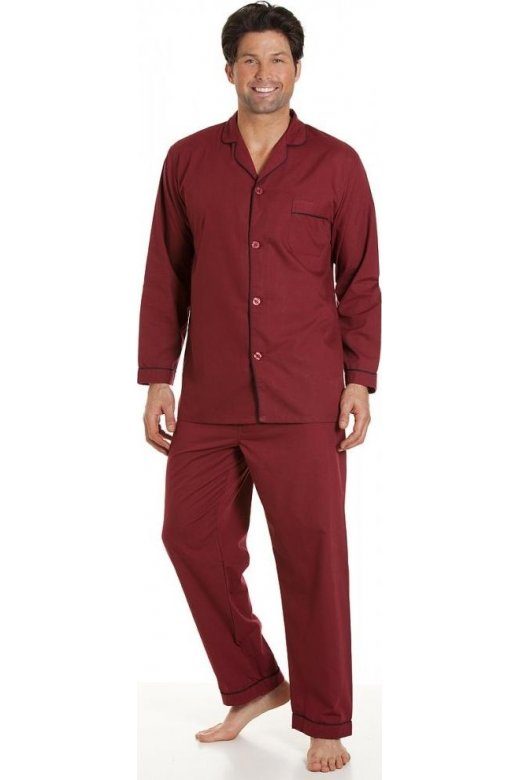cbffa2634c0d00 Haigman Classic Style Mens Full Length Burgundy Red Pyjama Set