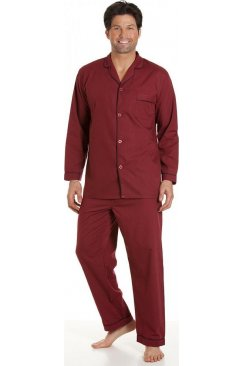 Haigman Classic Style Mens Full Length Burgundy Red Pyjama Set