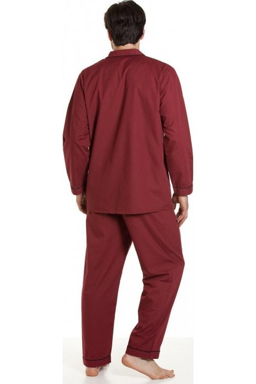 Haigman Mens Nightwear Sleepwear Classic Full Length Burgundy Red Pyjama Set