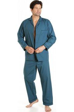 Haigman Mens Nightwear Classic Style Blue Full Length Cotton Blend Pyjama Set