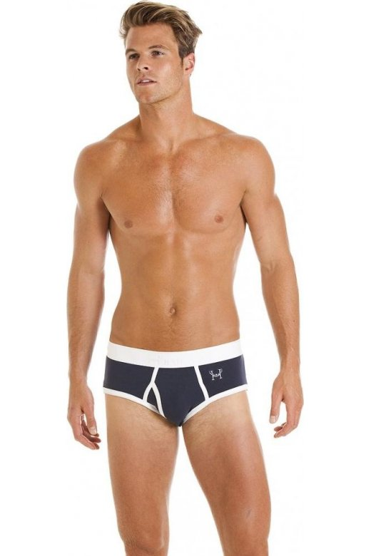 Haigman Mens Classic Style Cotton Comfort Stretch Blue And White Brief Underpants