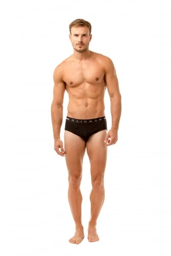 Mens Three Pack Cotton Stretch Black Briefs
