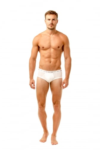 Mens Three Pack Cotton Stretch White Briefs