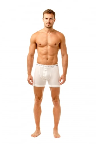 Mens Two Pack Button Front Cotton Stretch White Boxer Shorts