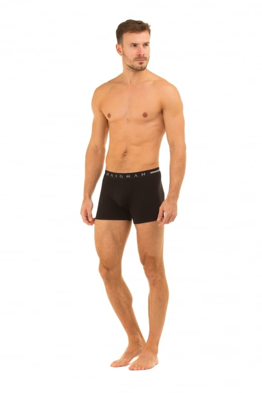 Haigman Mens Two Pack Cotton Stretch Black Boxer Shorts
