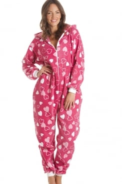 Heart Print Fleece Hooded All In One Fuchsia Pink Onesie Pyjama