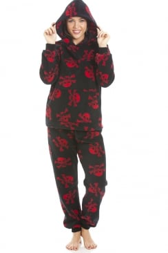 High Quality Hooded Fleece Black And Red Skull Full Length Pyjama Set