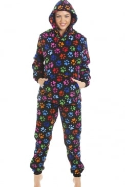 High Quality Hooded Fleece Black Multi Colour Paw Print Full Length Pyjama Set