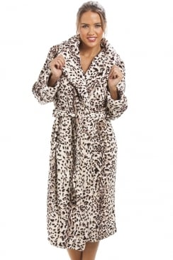High Quality Supersoft Brown And Cream Animal Print Bath Robe