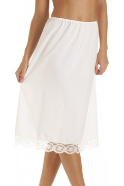 Ivory 32'' Half Length Lace Trim Under Skirt Slip