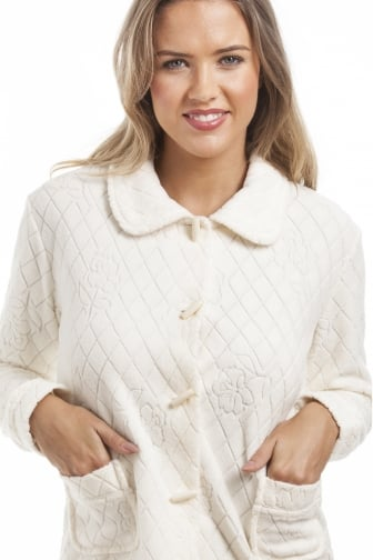 Ivory Floral Print Jacquard Fleece Bed Jacket