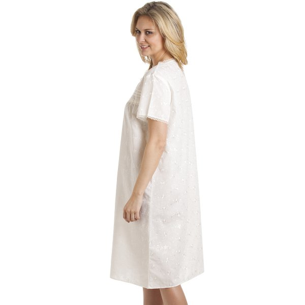 Ivory short sleeve floral embroidered nightdress