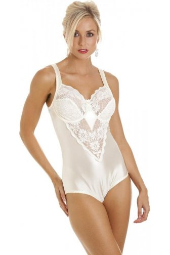 Ivory Underwired Non Padded Floral Lace Shapewear Body