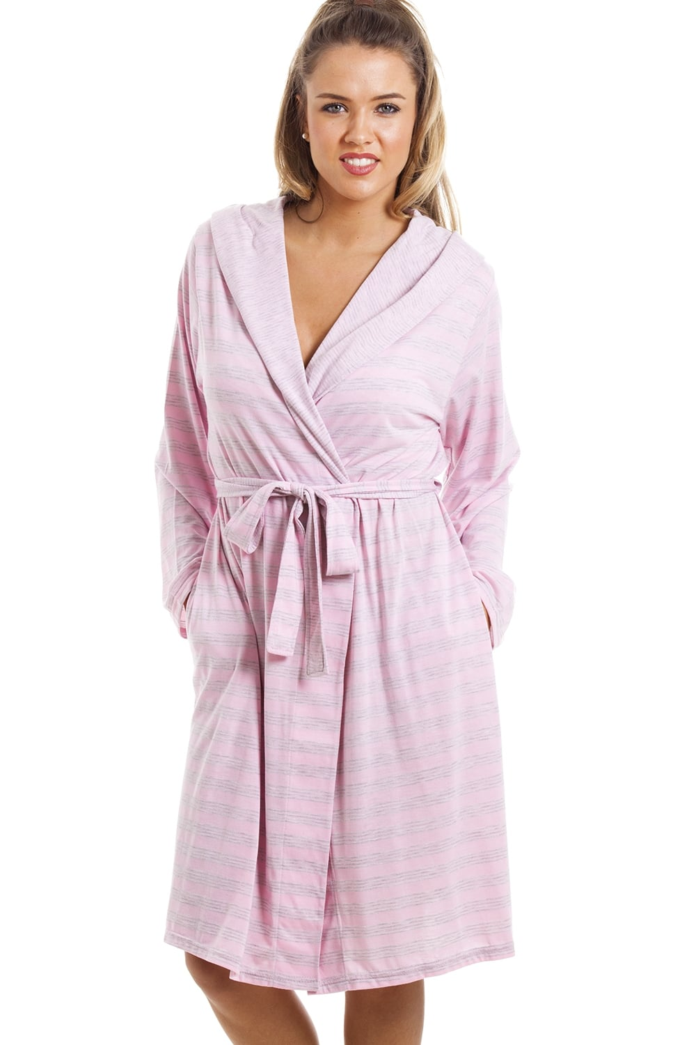 Knee Length Long Sleeve Hooded Grey And Pink Striped Dressing Gown