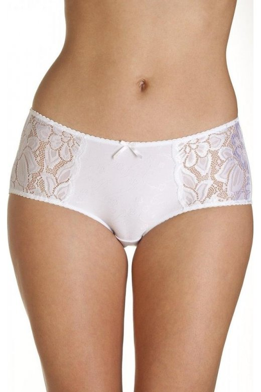 Lace Panel White Jacquard Short