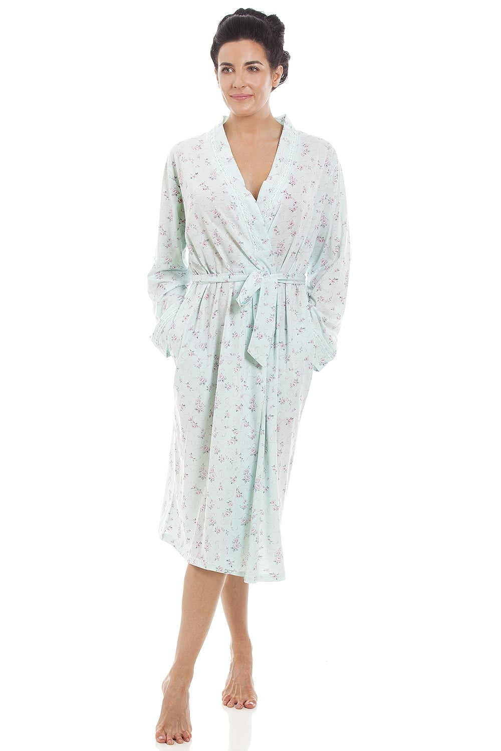 52faa894ab8 Camille Ladies Mint Floral Print Jersey Knit Cotton Dressing Gown