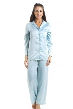 Light Blue Satin Full Length Pyjama Set