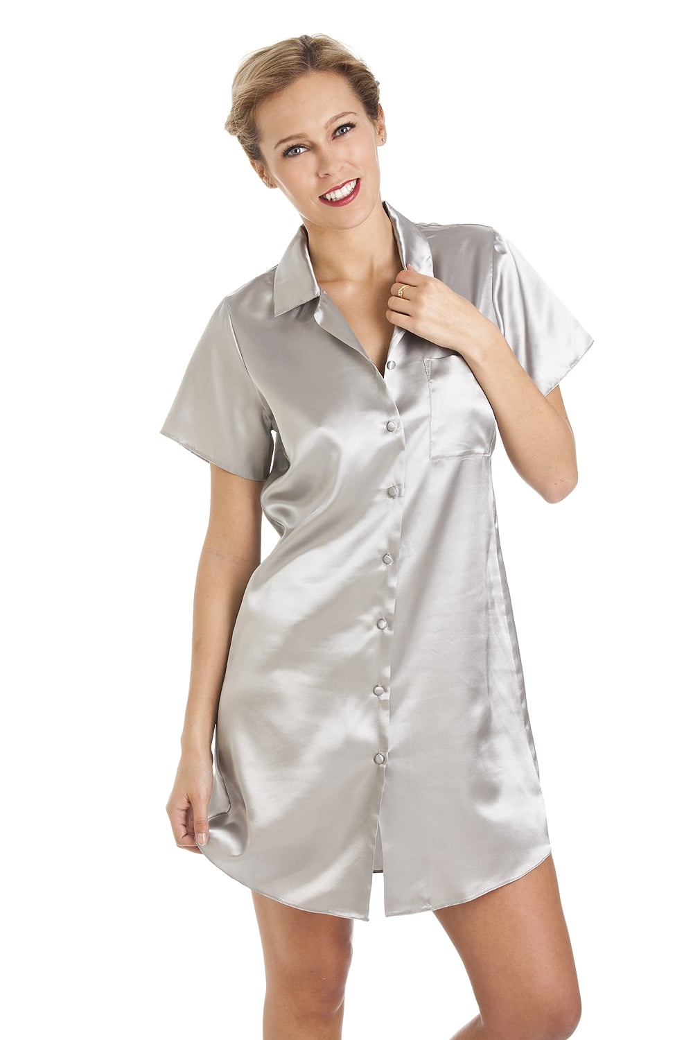 de338c04b7 Camille Light Grey Knee Length Satin Nightshirt