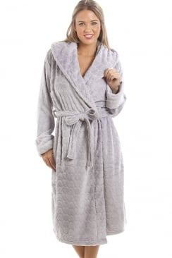Light Grey Supersoft Fleece Heart Print Bathrobe