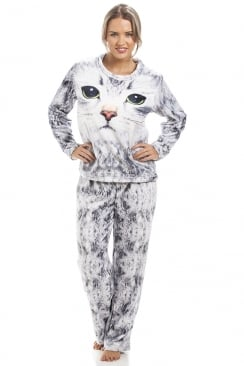 Light Grey Womens Stunning Cat Pyjama