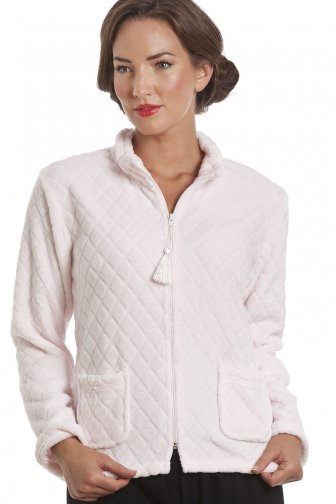 Light Pink Supersoft Zip Up Bed Jacket