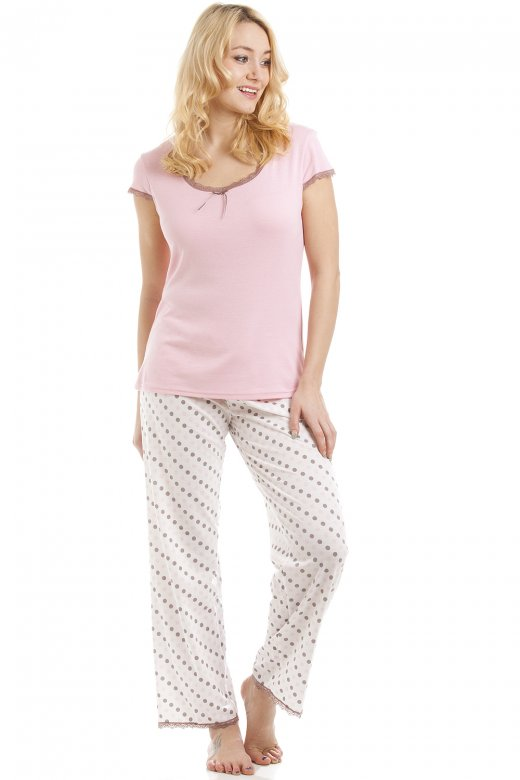 Camille Lightweight Cotton Mix Pink And Taupe Polka Dot Pyjama