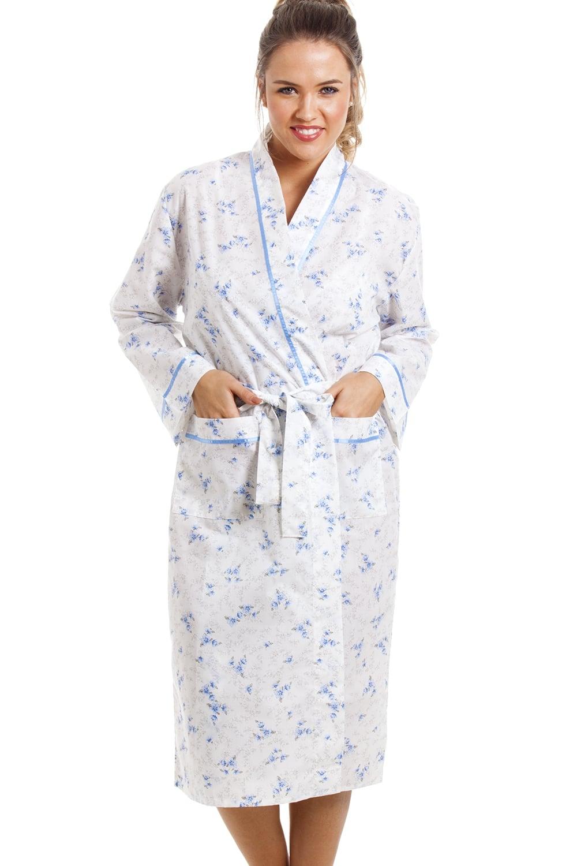 lightweight knee length long sleeve blue and white floral. Black Bedroom Furniture Sets. Home Design Ideas