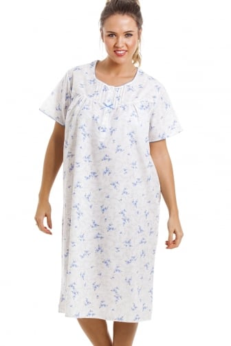 Lightweight Knee Length Short Sleeve Blue And White Floral Nightdress