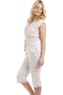 Lightweight Short Sleeve White Cotton Mix Pink And Taupe Spot Capri Pyajams