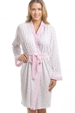 Lightweight White Cotton Mix Pink And Multi-Coloured Spot Bathrobe