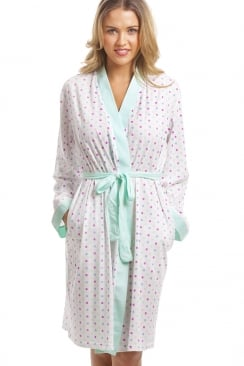 Lightweight White Cotton Mix Turquoise And Multi-Coloured Spot Bathrobe
