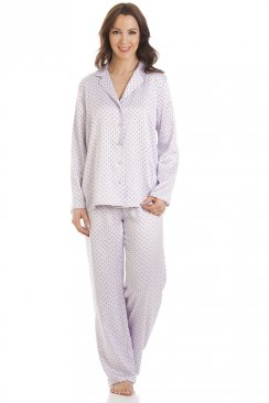 Lilac Polka Dot Full Length Satin Pyjama Set
