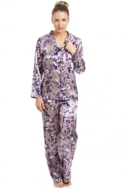 Lilac Satin Pyjama Set With A Purple Floral Print