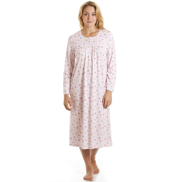 6f2be25b25 Camille Long Sleeve 100% Cotton Pink And Multi Floral Print Jersey  Nightshirt
