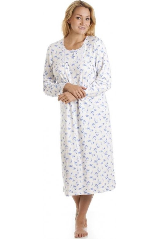 c005329b2f Long Sleeve 100% Cotton White And Blue Floral Print Jersey Nightshirt