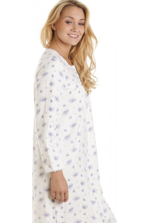 5d9d4f2f61 Camille Long Sleeve 100% Cotton White And Lilac Floral Print Jersey  Nightshirt