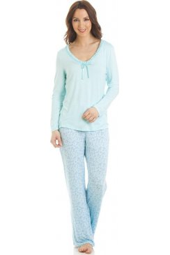 Long Sleeve Floral Print Aqua Pyjama Set