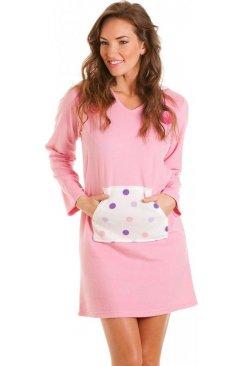 da775d8897 Ladies Camille Green Knee Length Night Shirt Long Sleeve Cotton ...
