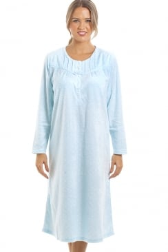 Long Sleeved Supersoft Blue Fleece Nightdress With White Polka Dots