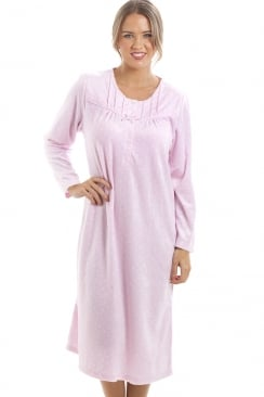 Long Sleeved Supersoft Pink Fleece Nightdress With White Polka Dots