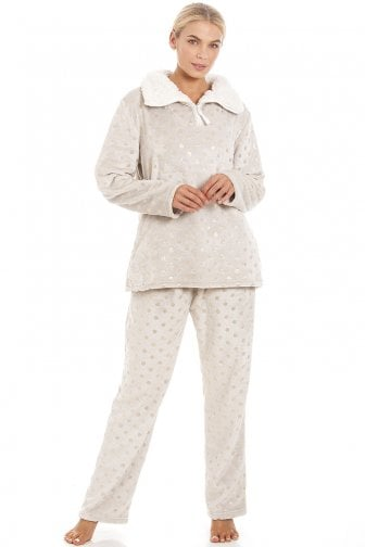 Luxurious Grey Supersoft Fleece High Neck Gold Polka Dot Pyjama Set cbffc2faa